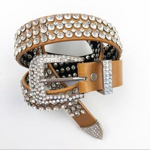 MMS Design Rhinestone Studded Western Belt Large